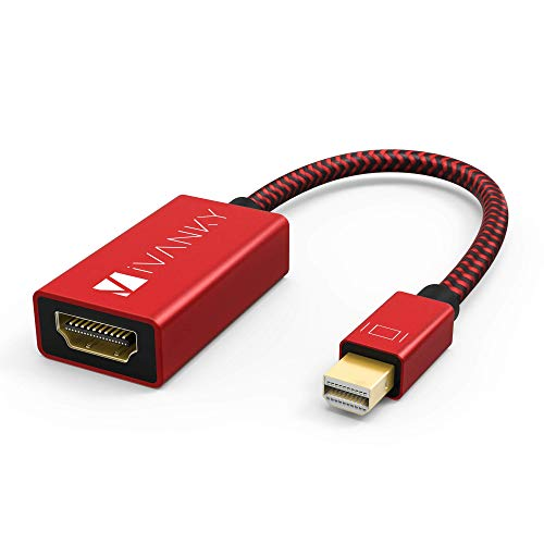 IVANKY Mini Displayport a HDMI - 4K Risoluzione - Thunderbolt to HDMI, Adattatore Mini Displayport a HDMI Maschio a Femmina Compatibile con Surface PRO, ThinkPad, dell ECC - Rosso