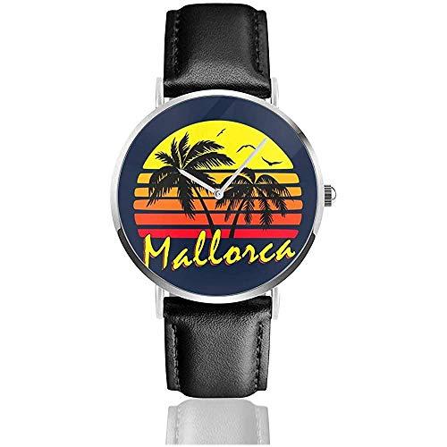 Mallorca Vintage Sun Watches Reloj de Cuero de Cuarzo con Correa de Cuero Negra para Regalo de colección