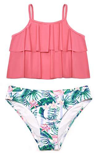 SHEKINI Conjunto de Bikini de 2 Piezas para Niñas Traje de Baño con Volantes de Doble Capa Parte Inferior de Hawaii con Cintura Baja Traje de Baño Floral Dulce (Melon Rojo, 10-12 años)