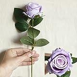 Ramo de flores artificiales rojas de seda artificial para bodas, novias, casas y flores blancas falsas baratas para decoración de mesa del hogar (color: morado)