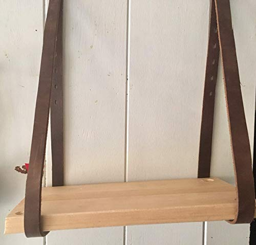 Hanging table Bed side table Suspended table Hammock table Nightstand End table Reclaimed wood Pine Wood Hanging Shelves Leather Strap wood shelving Rustic Wall Bookshelf Modern Floating mantle