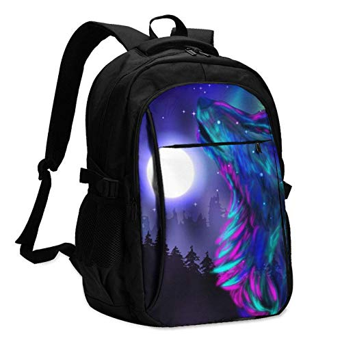 XCNGG Wolf Travel Laptop Backpack with USB Charging Port Multifunction Work School Bag