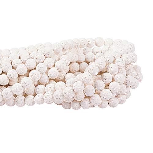 Airssory 10 hebras piedras de roca volcánica de lava blanca natural cuentas redondas sueltas piedras preciosas a granel para aceites esenciales collar de fabricación de joyas
