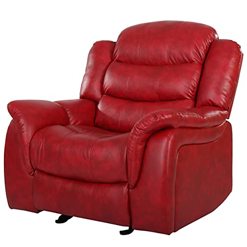 Great Deal Furniture Merit Contemporary Red Glider Recliner Chair