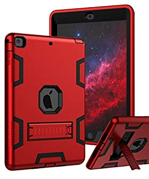 TIANLI Case for iPad Air Three Layer Plastic and Silicone Protection Heavy Duty Shockproof Protective Cover for iPad Air 9.7 inch - Red Black