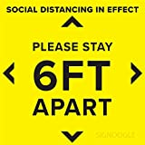 SIGNOOGLE Please Stay Six Feet Apart Keep Your Social Distance Floor Stand Here Stickers Posters for Hospitals Shops Offices