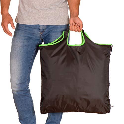 gripOne Shopper–Bolsa de la Compra Plegable con zuzieh de Bolsa, Extremadamente Resistente, Ultra Ligero y Compacto, Grün XXL, 55 x 7 x 62 cm