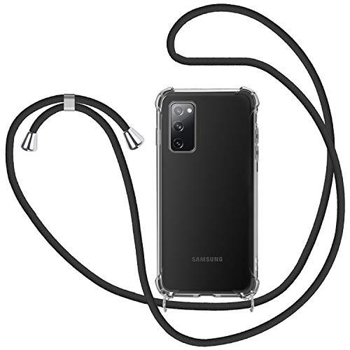 SAMCASE Handykette Hülle für Samsung Galaxy S20 FE, Necklace Hülle mit Kordel Transparent Silikon Handyhülle mit Kordel zum Umhängen Schutzhülle mit Band in Schwarz
