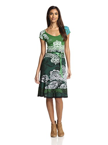 Desigual Paris - Vestido de manga corta para mujer, color Verde (Verde Mckennan), talla 36 (talla fabricante: DE S / FR M)