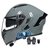 Casco Moto Modular ECE Aprobado con Doble Visera Anti Niebla Cascos Integral Flip Up Bluetooth Incorporado Guantes y Mascarilla Casco de Motocicleta para Hombre y Mujer 55~60cm