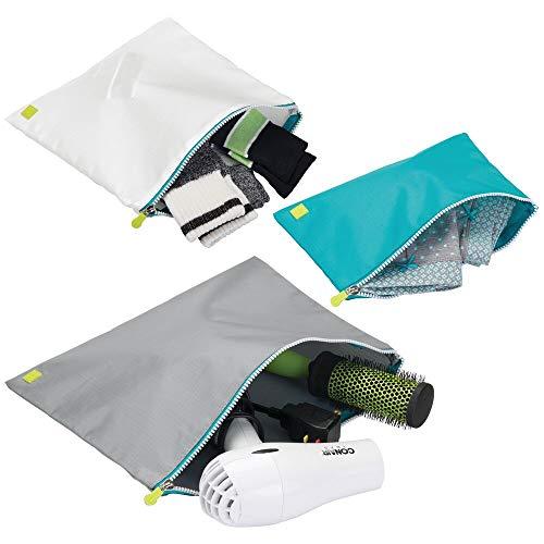mDesign 3er-Set Reißverschlusstaschen – Dokumententasche auch für Sport und Reise – vielseitiges Reisezubehör in verschiedenen Größen – grau/türkis/weiß