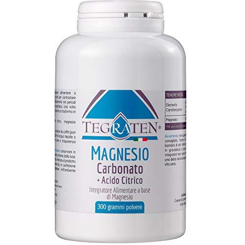 Tegraten Magnesio Carbonato + Acido Citrico 300 Grammi in Polvere - Senza Aggiunta di Aromi (1 Confezione da 300 gr. - Polvere)