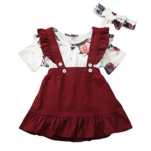 Conjunto de ropa de bebé de manga corta + falda de lazo o vestido de algodón corto para niños pequeños, 2 piezas, 3 meses a 4 años rojo vino. 3-4 Años