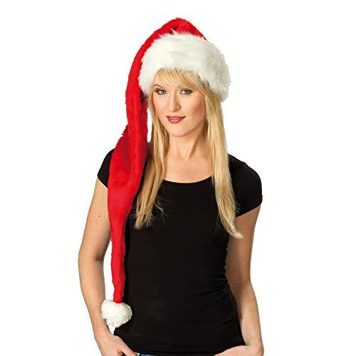 superlange Weihnachtsmütze XXL Nikolaus-Mütze Plüsch Einheitsgröße Erwachsene Zipfelmütze