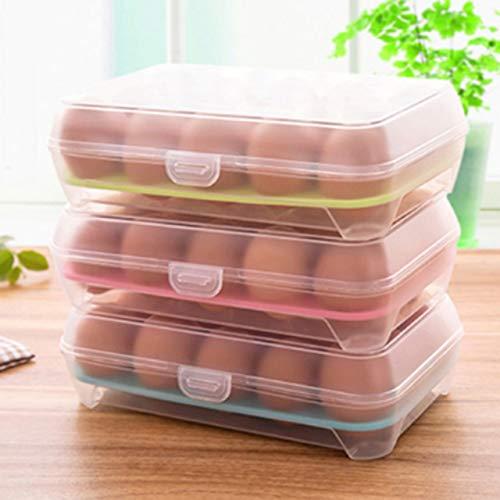 N / A 15 Rejilla Práctico Portátil Huevos Transparentes Refrigerador Caja Fresca Almacenamiento Contenedor de Alimentos Eficiente Dispensador de Huevos Caja de Almacenamiento 24x15x7CM