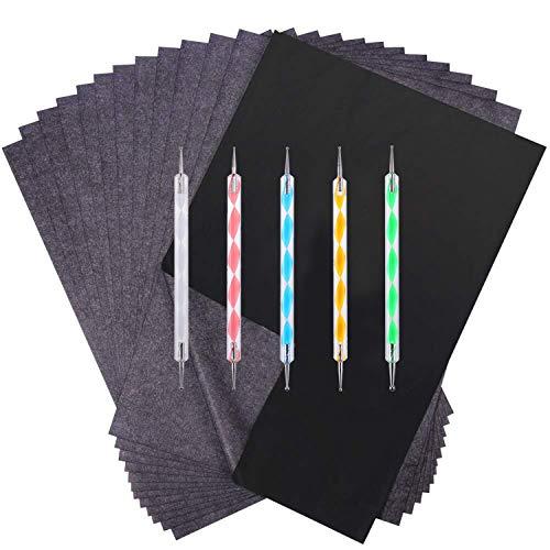Chie no fukuro 150 Blatt Carbon Papier Schwarz Transfer Paus Papier und 5 Stück Ball Prägestempel für Holz, Papier, Canvas und Andere Oberflächen(9 x 13 Zoll)