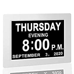 【Upgraded】 Digital Calendar Alarm Day Clock - with 8 Large Screen Display, am pm, 5 Alarm, for Extra Large Impaired Vision People, The Aged Seniors, The Dementia, for Desk, Wall Mounted, White