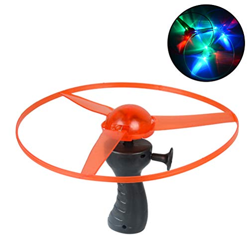 Peahop Flugkreisel Cadena de tirón Colorida Divertida Luces LED Disco Volador Juguetes para niños Luces Flying Frisbee