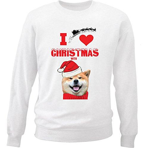 teesquare1st Akita I Love Christmas with Akita Felpa di Cotone Bianca Size Small