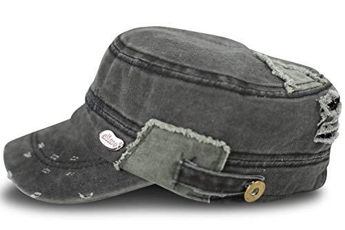 fashionchimp ® Military-Cap mit Stickerei im Fidel Castro Cuba-Look, Army Mütze (Dunkelgrau Used, L/XL)