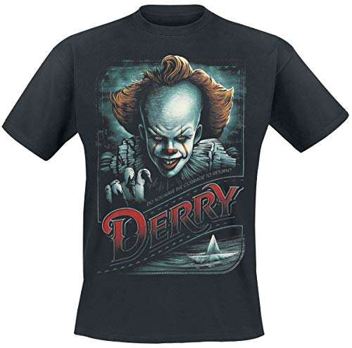 Stephen Kings ES Camiseta Hombre Return to Derry Pennywise Cotton Negro