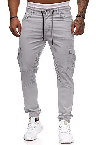 Herren Hose Jogger Chino Cargo Jeans Hosen Stretch Sporthose Herren Hose mit Taschen Slim Fit Freizeithose (Hellgrau, M)