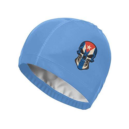 Nifdhkw Merahans Cuba Flag Skull Gorra de baño Unisex con Abrigo de PU, Gorro de baño Impreso, Gorros de baño Impermeables con protección UV