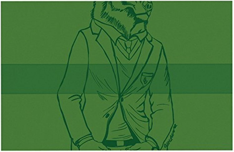 KESS InHouse Geordanna CorderoFields Dapper Bear Green  Emerald Animal Dog Place Mat, 13  x 18