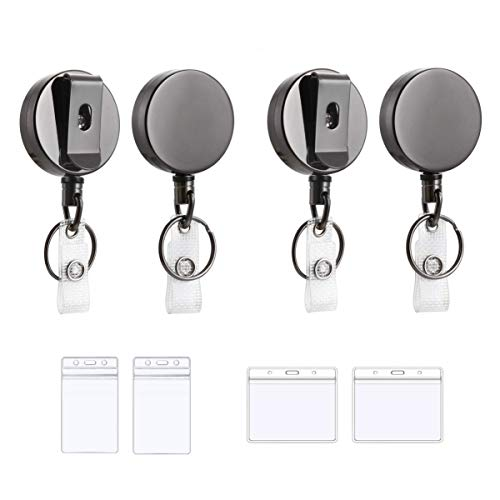 Retractable Badge Holder - 4pcs with Card Holders