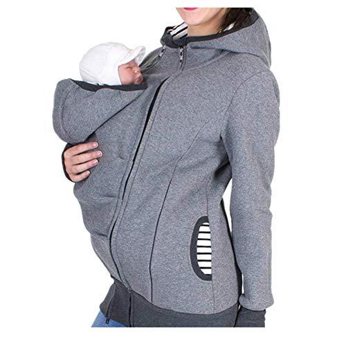 QinMM Chaqueta Canguro para Padres Premamá Mujer, Sudadera Abrigo con Capucha de Maternidad Embarazada Lactancia Invierno