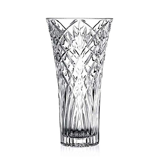JASVIC Vase 12inch Flower Glass Vases, Tall Crystal Vases for Flowers, Clear Large Vases for Dining Table Decor
