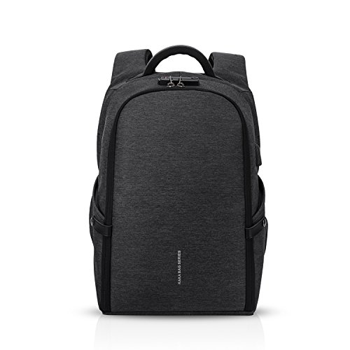 FANDARE Mode 15,6 Zoll Laptop Rucksack mit USB-Ladeanschluss Fixed Band Business Daypack Outdoor Wandern Reisen Camping Herren Backpack Wasserdicht Polyester Schwarz