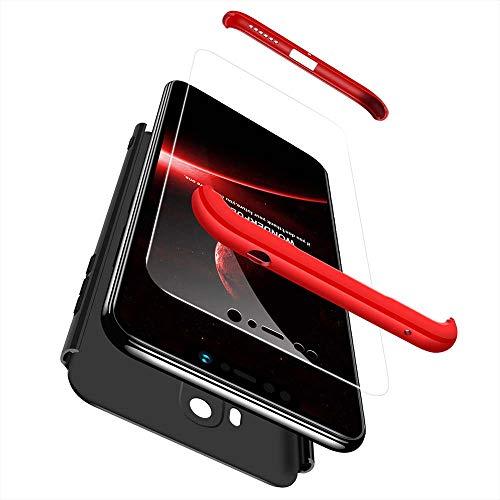 cmdkd Hülle Kompatibel mit Xiaomi Pocophone F1,Hardcase 3 in 1 Handyhülle 360 Grad Hülle Full Cover Case Komplett Schutzhülle Glatte Bumper + Panzerglas.Rot Schwarz