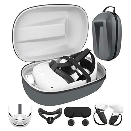 Luxus-VR-Zubehör für Oculus Quest 2(Gehäuse+Kopfgurt+2*Controller-Abdeckung+2*Daumen-Stick-Kappen+Objektivabdeckung+4*Klettbänder+Gesichtsabdeckung+2*Handgriffgürtel) Anti-Schock-Schutzhülle