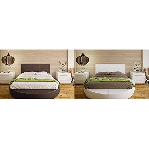 Hogar24 Es Cabecero tapizado, válido para Cama 135 y 150 cm, Chocolate, 155x55x3 + Es Cabecero tapizado, válido para Cama 135 y 150 cm, Blanco, 155x55x3