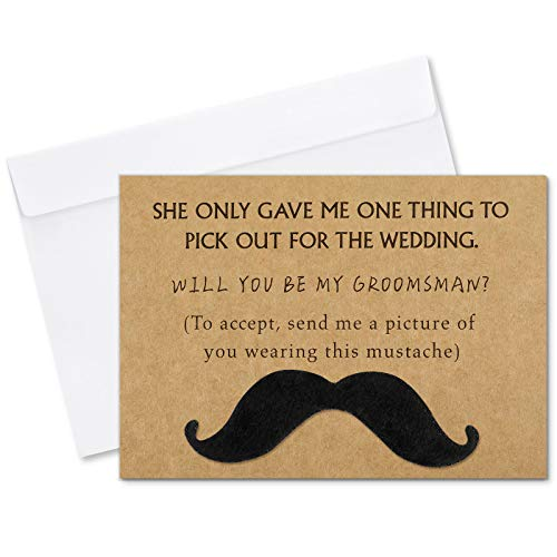 Teling 8 Pieces Groomsmen Proposal Cards with Mustache and Envelope, 7 Will You Be My Groomsman Cards and 1 Will You Be My Best Man Asking Card Invitation Funny Groomsman Cards for Wedding, 7 x 5 Inch