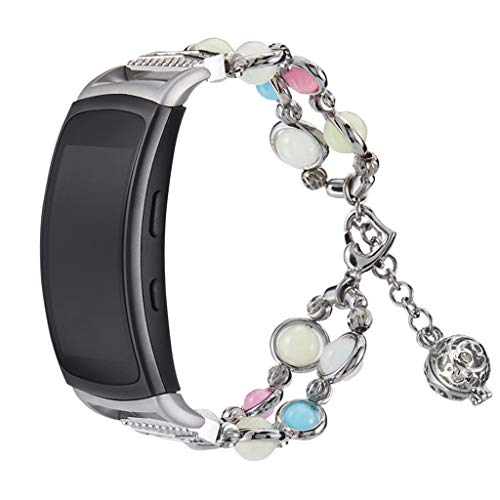 Sodoop for Samsung Gear Fit 2/Pro Band Adjustable Handmade Clasp Strap Night Luminous Pearl Bracelet Elastic Bead for Samsung Gear Fit 2/Pro Fitness Tracker,5.5-7.5inch,Women & Girl Gift