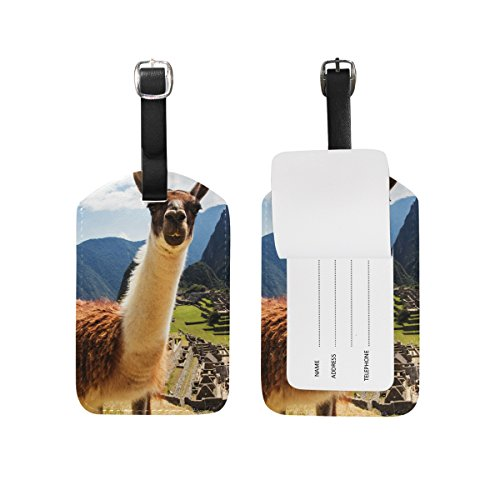 My Daily Lama Machu Picchu Luggage Tags PU Leather Bag Suitcases Baggage Label 2 Pieces Set