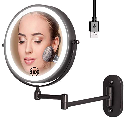 MAIDEHAO Vanity Mirror with Lights and 10X Magnification, Double Sided Bathroom Mirror Extendable Cosmetic Mirror, Makeup Mirror Wall Mounted Black with 0.5h Automatic Shutdown Function