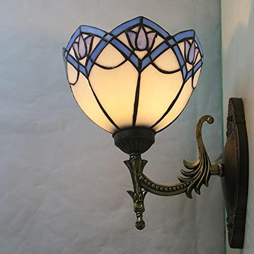 FVDS Lámpara de Pared de Estilo Tiffany, escono de la Pared mediterránea Artesanal en vidrieras Retro, Sala de vestíbulo del Pasillo, café, Bar, Espejo, luz Delantera E27, Cabeza única