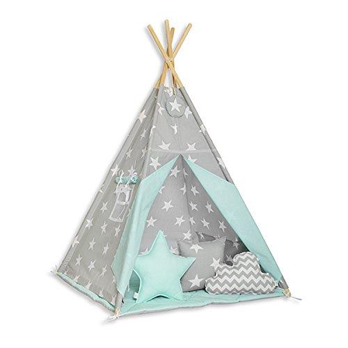 FUNwithMUM Tipi Zelt Spielzelt Teepee Fur Kinder Indianer Wigwam Kinderzimmer Garten Bodenmatte 3xKissen 100x100x150 Baumwolle - Mint Heaven