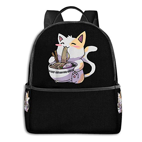IUBBKI Mochila lateral negra Mochilas informales Zwinz Kawaii Neko Cat Ramen Bowl Anime Japanese Backpack