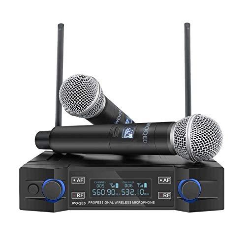 Microphone for Singing, WOQED 2021 Upgraded, Wireless Microphone, Wireless Microphone System, Cordless Mic Set, Wireless Microphone for Singing, Party, Home Karaoke, Meeting, Wedding, Church