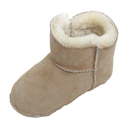Heitmann Lammfell Schuhe Babyschuhe Hausschuhe mit Klettverschluss Gr. 16 / 17 sand