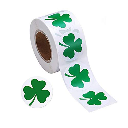 500 Pieces St Patricks Day Decorations Sticker Green Shamrock Stickers 1 Inch Self-Adhesive Labels for School/ Party/ Parade/Irish Decoration and Craft