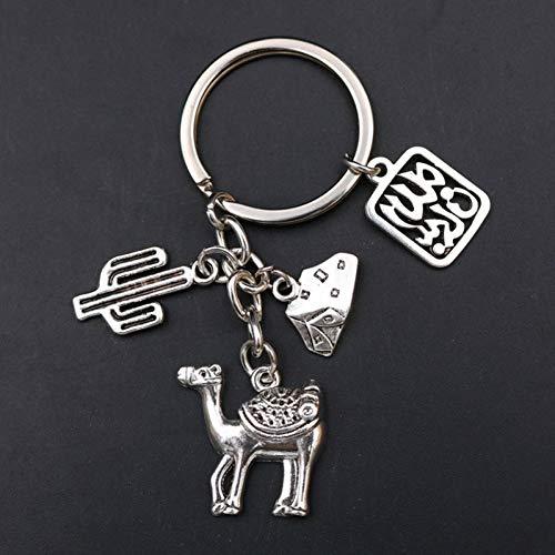 YQCZ Schlüsselring 1Pc Antike Silber Metall Wüste Beduinen Zelt Kamel Kaktus Keychain Kreative Handgemachten Reise Memorial Schmuck Keychain