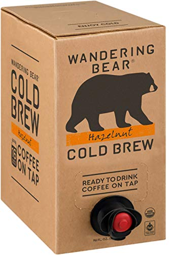 Wandering Bear Extra Strong Organic Cold Brew Coffee On Tap, Hazelnut, 96 fl oz - Smooth, Unsweetened, Shelf-Stable, and Ready to Drink Cold Brew