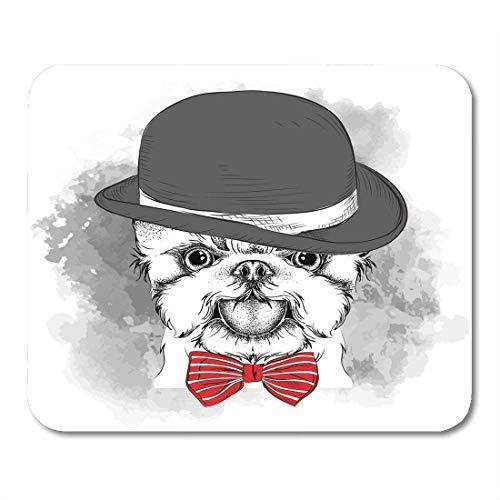Mauspads Beast Brown Tierporträt von Hund in der Hut Krawatte und Brille Yorkshire Terrier Red Barking Bulldog Mouse MatsMouse Pad