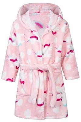 Lodunsyr Albornoces Niña Niño Unicornio Pijamas y Batas Infantil Textiles de Baño Muchacha Albornoz con Capucha Batas Regalos Suave Ropa de Dormir 2-9 Años