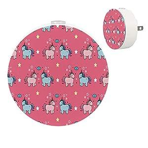 2 Pack Kids LED Night Light Pink Blue Unicorns Star Pink Background, Plug-in Nightlight with Dusk-to-Dawn Sensor, Soft Lighting for Baby Breastfeeding Sleep Bedroom Bathroom Nursery Home Decor